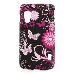 Plastové pouzdro pro LG Optimus L5 Dual E455- motýlový květ - 1