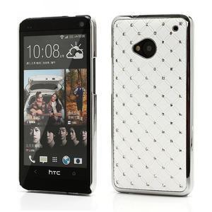 Drahokamové pouzdro pro HTC one M7- bílé - 1