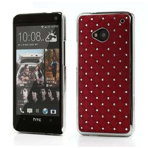 Drahokamové pouzdro pro HTC one M7- červené - 1
