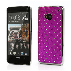 Drahokamové pouzdro pro HTC one M7- růžové - 1