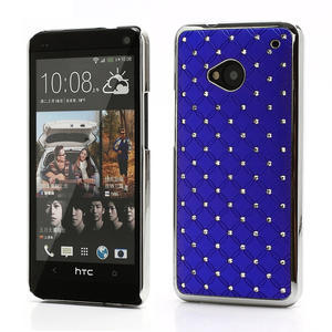 Drahokamové pouzdro pro HTC one M7- modré - 1