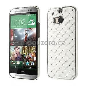 Drahokamové pouzdro pro HTC one M8- bílé - 1