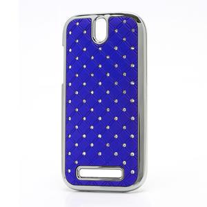 Drahokamové pouzdro pro HTC One SV- modré - 1