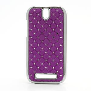 Drahokamové pouzdro pro HTC One SV-fialové - 1