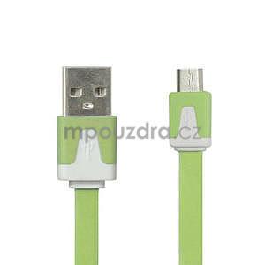 Nabíjecí, propojovací micro USB kabel, zelený / bílý - 1