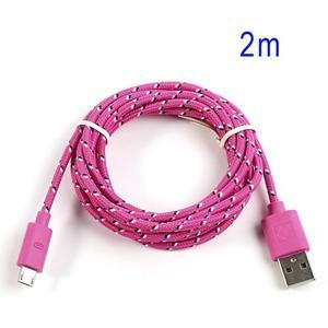 Tkaný odolný micro USB kabel s délkou 2m - rose - 1