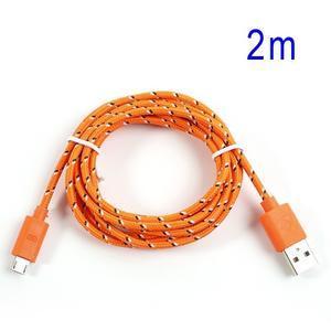 Tkaný odolný micro USB kabel s délkou 2m - oranžový - 1