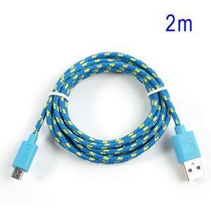 Tkaný odolný micro USB kabel s délkou 2m - modrý - 1