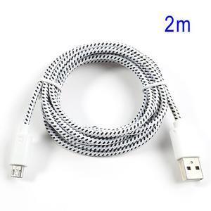 Tkaný odolný micro USB kabel s délkou 2m - bílý - 1