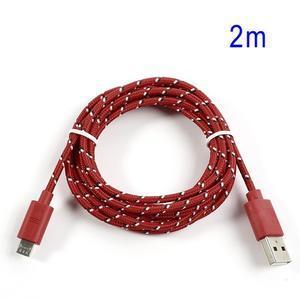 Tkaný odolný micro USB kabel s délkou 2m - červený - 1