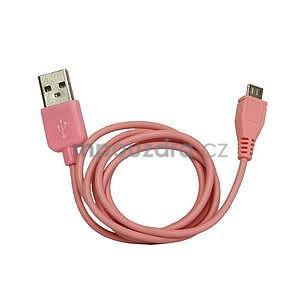 micro USB kabel - délka 1 m, růžový