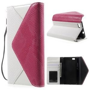 Luxusní peněženkové pouzdro na Huawei P8 Lite - bílé / rose - 1