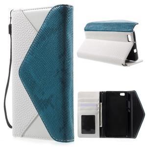 Luxusní peněženkové pouzdro na Huawei P8 Lite - bílé / modrozelené - 1
