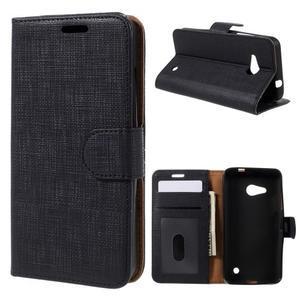 Cloth PU kožené pouzdro na mobil Microsoft Lumia 550 - černé - 1