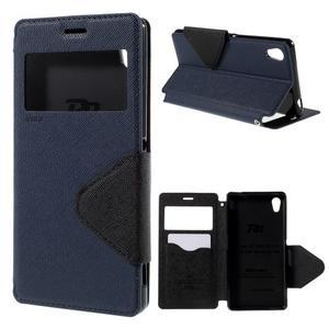 Peněženkové pouzdro s okýnkem pro Sony Xperia M4 Aqua - tmavěmodré - 1