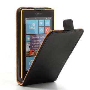 Flipové černé pouzdro na Nokia Lumia 520 - 1