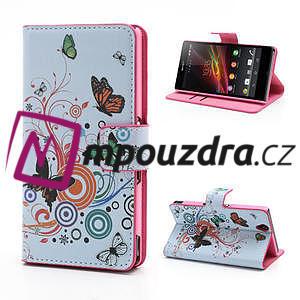Peněženkové pouzdro na Sony Xperia Z C6603 - barevní motýlci - 1