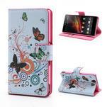 Peněženkové pouzdro na Sony Xperia Z C6603 - barevní motýlci - 1/7