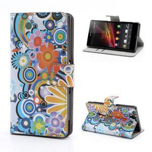Peněženkové pouzdro na Sony Xperia Z C6603 - barevné vzory - 1