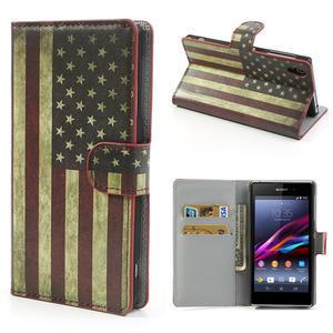 Peněženkové pouzdro na Sony Xperia Z1 C6903 L39- USA vlajka - 1