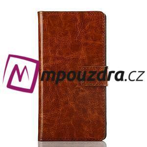 Peněženkové PU kožené pouzdro na Sony Xperia M2 D2302 - hnědé - 1