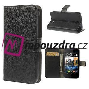Peněženkové PU kožené pouzdro na HTC Desire 310- černé - 1