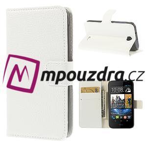 Peněženkové PU kožené pouzdro na HTC Desire 310- bílé - 1