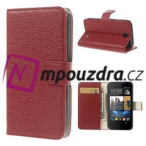 Peněženkové PU kožené pouzdro na HTC Desire 310- červené - 1