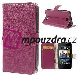 Peněženkové PU kožené pouzdro na HTC Desire 310- růžové - 1