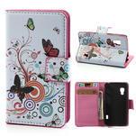Peněženkové pouzdro pro LG Optimus L5 Dual E455-barevní motýli - 1/5