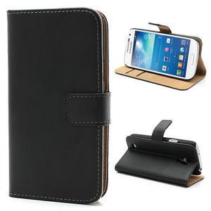 Peněženkové PU kožené pouzdro na Samsung Galaxy S4 mini i9190- černé - 1