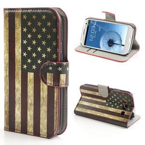Peněženkové pouzdro na Samsung Galaxy S3 i9300- USA vlajka - 1