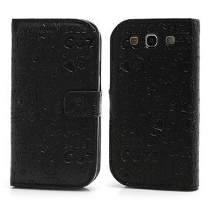 Peněženkové pouzdro na Samsung Galaxy S3 i9300- černé - 1