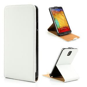 Flipové PU kožené pouzdro na Samsung Galaxy Note 3- bílé - 1