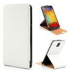 Flipové PU kožené pouzdro na Samsung Galaxy Note 3- bílé - 1/6