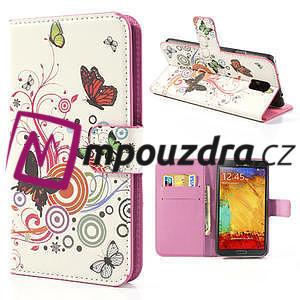 Peněženkové pouzdro na Samsung Galaxy Note 3- barevné motýlci - 1