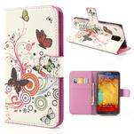 Peněženkové pouzdro na Samsung Galaxy Note 3- barevné motýlci - 1/7