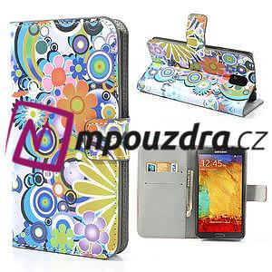 Peněženkové pouzdro na Samsung Galaxy Note 3- barevné květy - 1