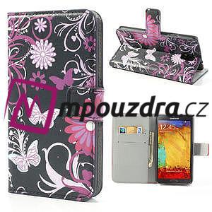 Peněženkové pouzdro na Samsung Galaxy Note 3- motýlci - 1