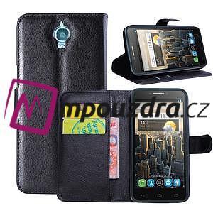 Peněženkové PU kožené pouzdro na Alcatel One Touch Idol OT-6030D- černé - 1