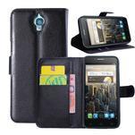 Peněženkové PU kožené pouzdro na Alcatel One Touch Idol OT-6030D- černé - 1/6