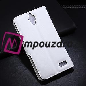 Peněženkové PU kožené pouzdro na Alcatel One Touch Idol OT-6030D- bílé