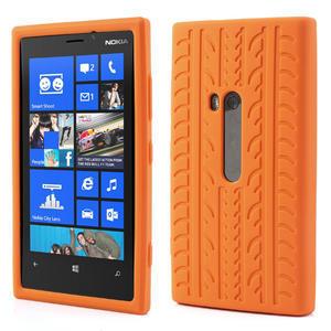 Silokonové PNEU pouzdro na Nokia Lumia 920- oranžové - 1
