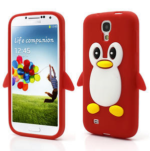 Silikonový Tučňák pouzdro pro Samsung Galaxy S4 i9500- červený - 1