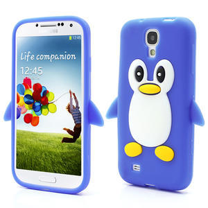 Silikonový Tučňák pouzdro pro Samsung Galaxy S4 i9500- modrý - 1