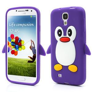 Silikonový Tučňák pouzdro pro Samsung Galaxy S4 i9500- fialový - 1