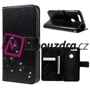 Floay PU kožené pouzdro s kamínky na mobil Honor 8 - černé - 1