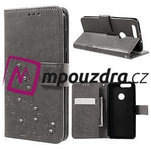 Floay PU kožené pouzdro s kamínky na mobil Honor 8 - šedé - 1