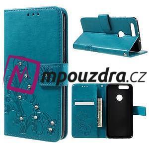 Floay PU kožené pouzdro s kamínky na mobil Honor 8 - modré - 1