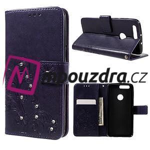 Floay PU kožené pouzdro s kamínky na mobil Honor 8 - fialové - 1